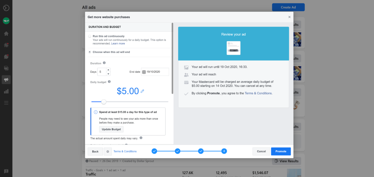 flexible ad budget options with Facebook Ads
