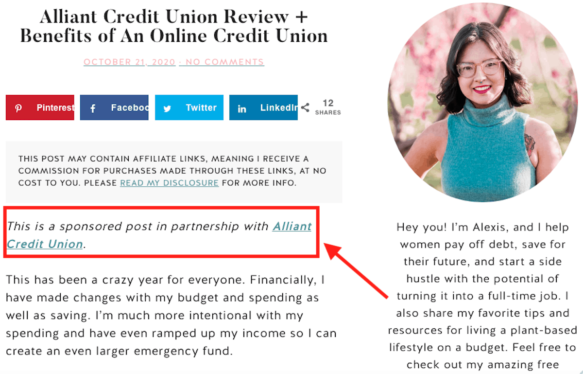 example of sponsored posts on a blog