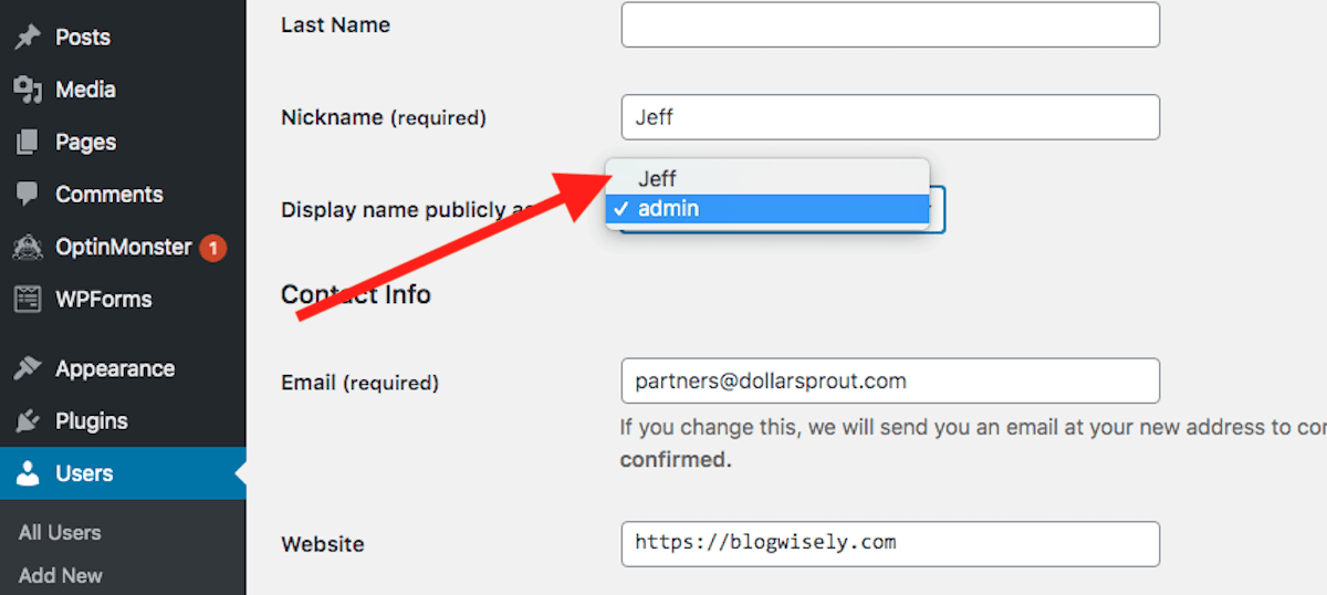 WordPress public name section