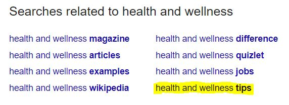 health and wellness related searches