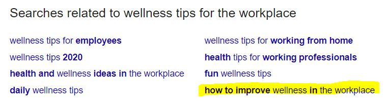 how to improve wellness in the workplace related searches