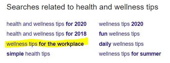 wellness tips for the workplace related searches