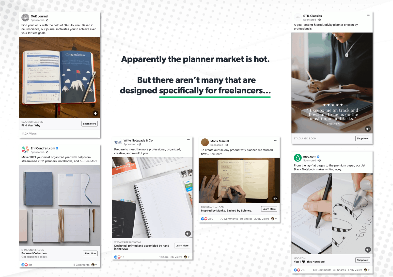 I started getting dozens of Facebook and Instagram ads for notebooks.