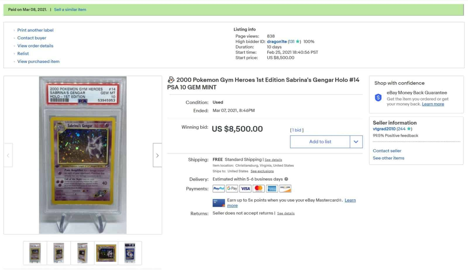 example ebay auction for pokemon card