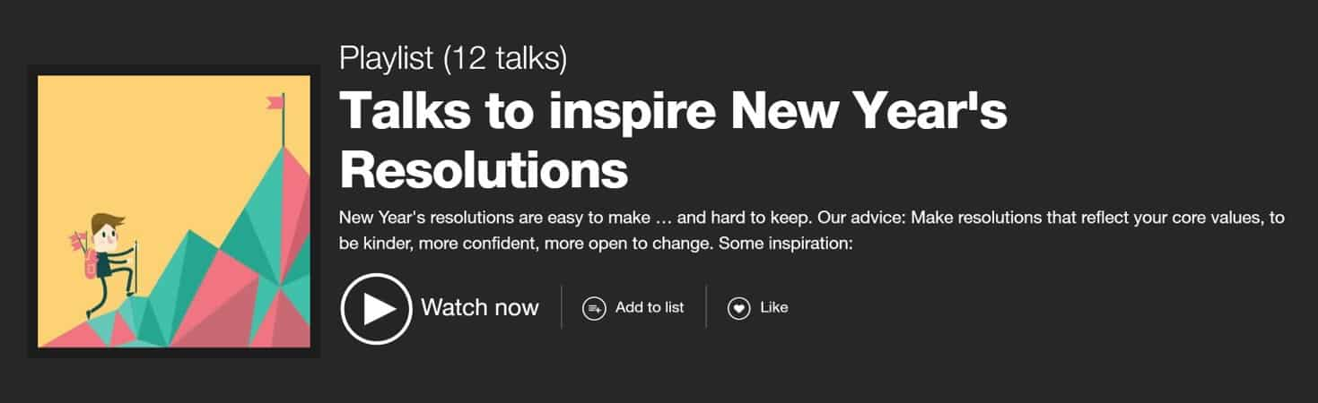 TED talks to inspire new year's resolution ideas